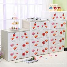 Fashion Flower Printing Plastic Drawer Storage Cabinet (FL-156-1)