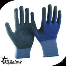 SRSAFETY 15G knitted nylon & spandex coated black high-technology foam nitrile gloves,black nitrile dots on palm
