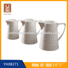 600ml/1100ml/1500ml White Porclain Big Water Milk Tea Jug with Handle