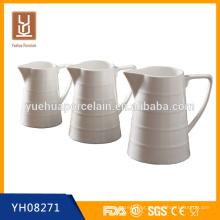 Jarro de porcelana branca de venda de tamanho diferente / jarro de leite de cerâmica