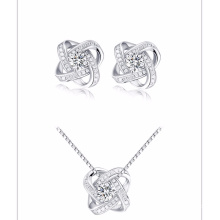 square flower Jewelry Sets , Silver and Crystal Stud Earrings with pendant jewelry type