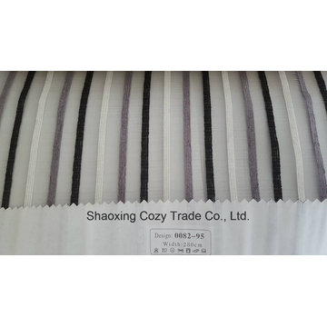 New Popular Project Stripe Organza Voile Sheer Curtain Fabric 008295