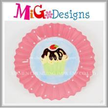 Placa de diseño de la torta de cerámica rosada linda