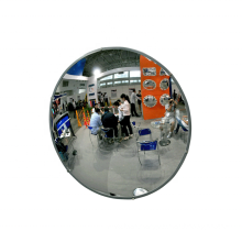 Indoor security circle stainless steel convex mirror with black rubber edge
