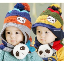 Varón, niño, lana, rayado, panda, invierno, sombrero, lindo, pelota
