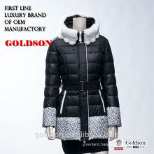 Coat Style Long Warm Women Winter Duck Down Jacket with Rabbit Fur