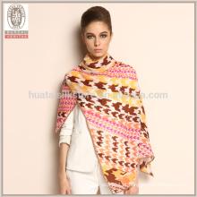 2015 Moda Houndstooth feito à medida lenço de inverno de lã 100%