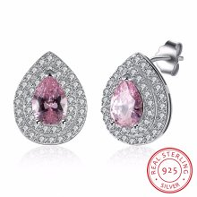 925 Sterling Silver Pink Big Drill with Zircon Drop Shape Ear Stud Fashion Earring