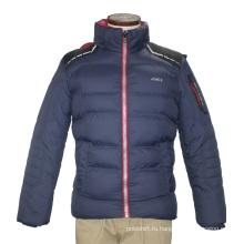 Мужская Зимняя Мода Взрослых Водонепроницаемый Ветрозащитный Полиэстер ВМС Капюшоном Стеганые Пальто Досуг Куртка