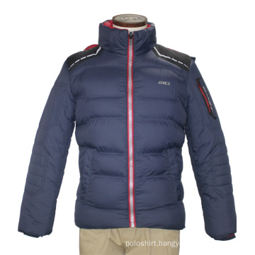 Unisex Fashion Winter Adults Windproof Waterproof Polyester Hoody Navy Quilted Leisure Coat Jacket