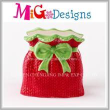 Caixa de presente vermelha Suporte de guardanapo cerâmico de Ideias de Natal