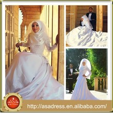 SMA59サウジアラビアハイジャブハイカラーロングスリーブタフタイスラム教会のウェディングドレス