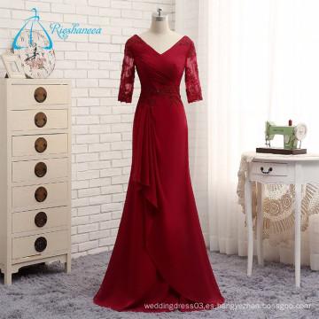 Gasa Appliques plisado V-cuello largo vestido de noche sexy 2017