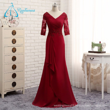Chiffon Appliques Pleat V-Neck Long Sexy Evening Dress 2017