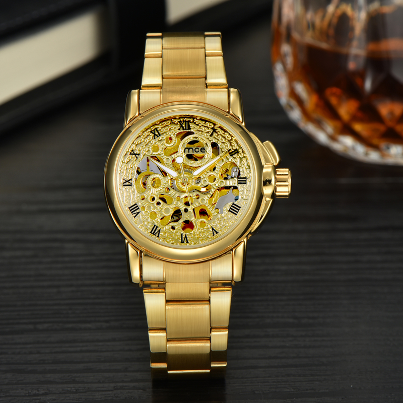 custom face bling bling mechanical lady wrist watch