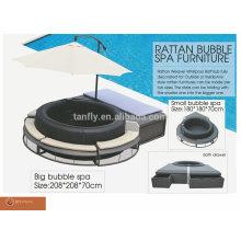 Neues Design Poly Rattan bubble Spa Möbel für aufblasbare Whirlpool / Wicker lounge / pool Lounge