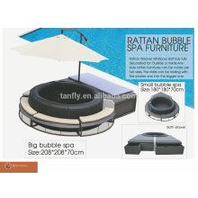 New design Poly Rattan bubble spa furniture for inflatable hot tub/ wicker lounge/ pool lounge