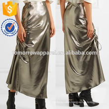 New Fashion Asymmetric Ruched Silk-blend Midi Skirt DEM/DOM Manufacture Wholesale Fashion Women Apparel (TA5182S)