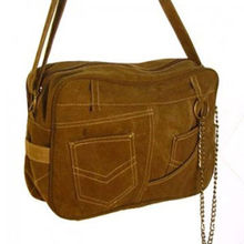 C91A010 Jeans-like Canvas Bag with Metal Chains