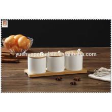 wholesale 3 pcs ceramic cruet jar with wooden lid and spoon