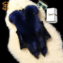 Прекрасный стиль 2015 Большой енота меховой капюшон Вязаный жилет с капюшоном меховой воротник Вязание жилет