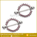 316L Surgical Steel Gems Circle of Life Nipple Ring Shield