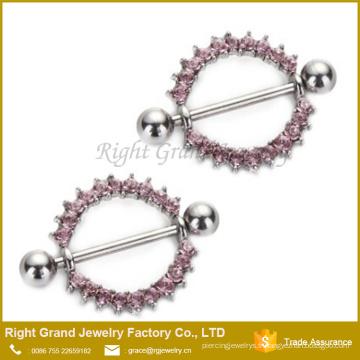 Bouclier d'anneau de mamelon d'acier chirurgical 316L de gemmes de vie