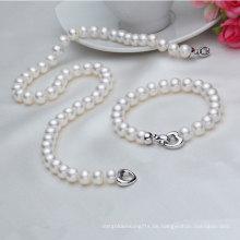 Echte Süßwasser Perlen Halskette und Armband Sets