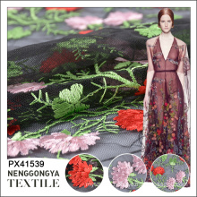 Wholesale beautiful polyester flower embroidery tulle fabric