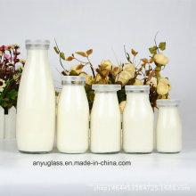 100 ml, 250 ml, 500 ml, 1000 ml Bouteilles de verre à base de lait rond avec couvercle en plastique
