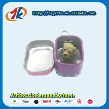 Porte-clés en promotion Boîte en étain carrée avec des jouets en plastique pour animaux Fabricant de chien