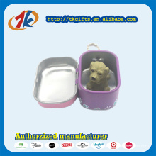 Promotional Keychain Square Tin Box with Plastic Animal Toys Dog Manufacturer