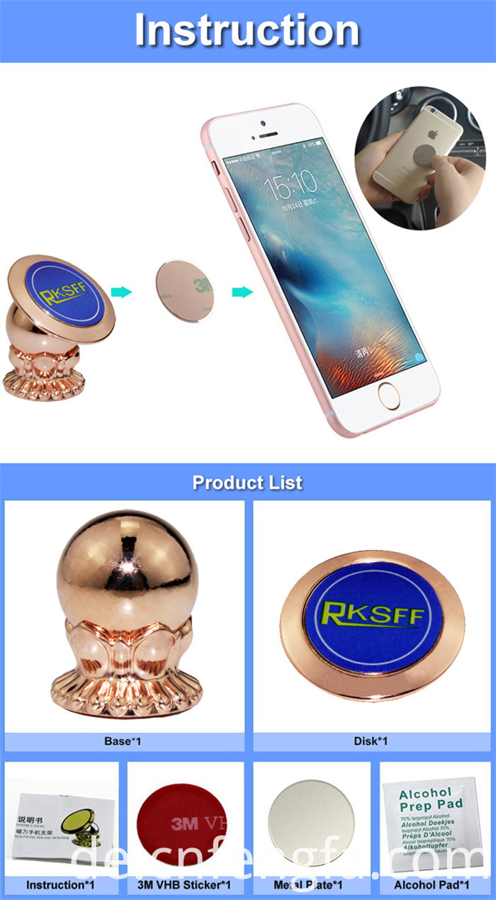 Magnetic car mobile phone holder Rose Gold