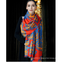 Écharpe en laine de soie imprimée OEM Lady Scarf