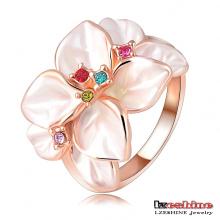 Art und Weise weißer Emaille-Blumen-weiblicher Kostüm-Ring (Ri-Hq1006-A)