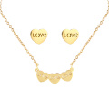 Hot Stainless Steel Gold Plated Jewelry Set Women Love Earring Necklace