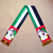 Soft Velvet Warm Material UAE Celebration Scarf with Country Leader Digital Transfer Printing