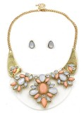 Elegant Pink Opal Acrylic Stone Crystal Moon Shaped Base Chunky Choker Gold Collar jewelry set for owmen