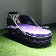 New design outdoor material flat belt sun bed lounger with cushion