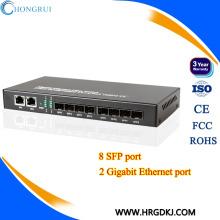 Низкой цене портами 10/100/1000BASE-TX к 1000BASE-FX с 8 портами SFP и 2 RJ45 PortsSFP конвертер