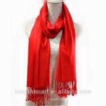 TS-014 100% Viskose Pashmina Schal Mädchen Kleider Volltonfarbe Viskose Schal Schal für Frau Hijab Fabrik Lieferant