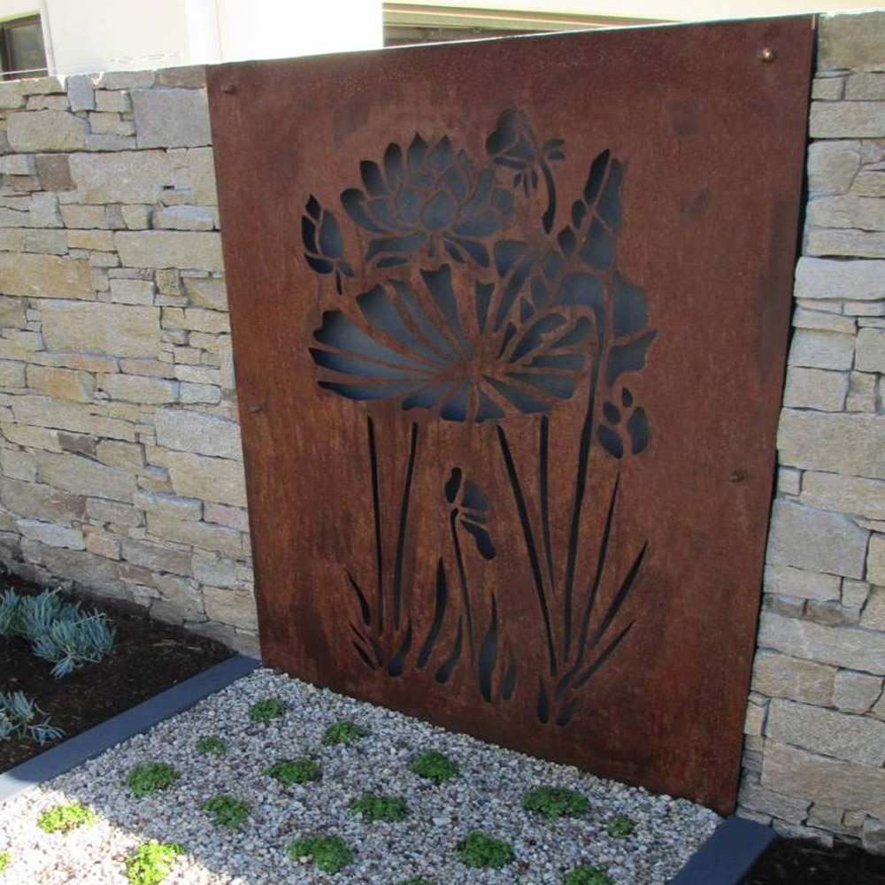 Laser Cut Floral Outdoor Wall Art Decor