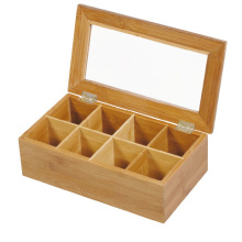 Wood Tea Bag Box with 8 Compartments