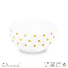 Bol en céramique bon marché de conception de points jaunes