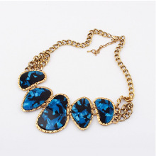 color stones vintage zinc alloy resin inlaid antique gold plate metal retro short necklace exaggerate style