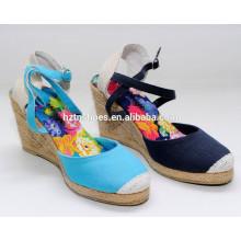 Простые сандалии женщин обувь дамы клин высокой пятки резиновые джутовые сандалии