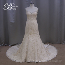 Exqusite Egypt Design Champagne Mermaid Bridal Wedding Dress with Big Bowknot 2016