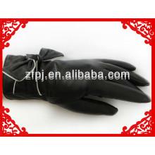 Mujeres de alto grado romántico piel de cabra guante de cuero con arco