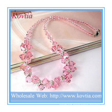 Fine jewelry high end pink crystal bead necklace in silver