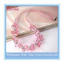 Jóia fina high-end colar de contas de cristal rosa em prata